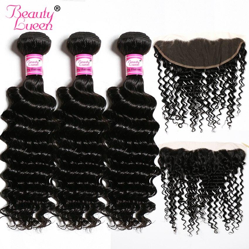 [해외]?브라질 헤어 위브 딥 웨이브 번들 클로저 인간의 머리카락 3 번들 레이스 앞쪽에 폐쇄 비범 한 4 번들 거래/ Brazilian Hair Weave Deep Wave BundlesClosure Human Hair 3 BundlesLace Frontal Clos