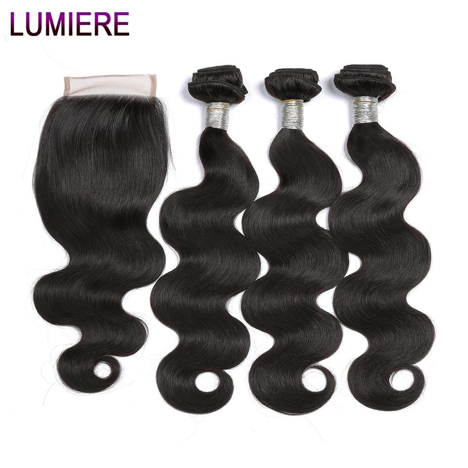 [해외]뤼미에르 헤어 페루 헤어 번들 클로저 바디 웨이브 3 번들 비 레미 인모 헤어 위브 레이스 클로저 4Pc / Lot/Lumiere Hair Peruvian Hair BundlesClosure Body Wave 3 Bundles Non Remy Human Hair