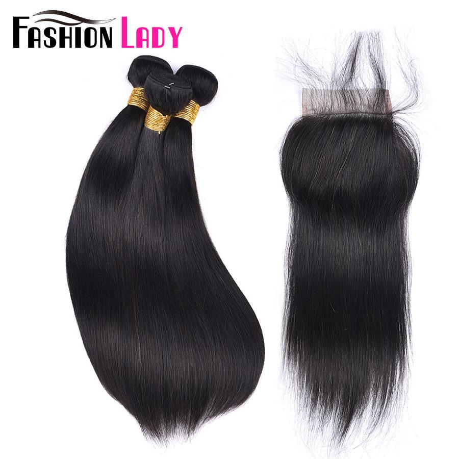 [해외]패션 아가씨 100 % 인간의 머리카락 자연 색상 3 번들 브라질 스트레이트 Hair4x4 무료 부품 레이스 클로저 비 - 레미/FASHION LADY 100% Human Hair Natural Color 3 Bundles Brazilian Straight Ha