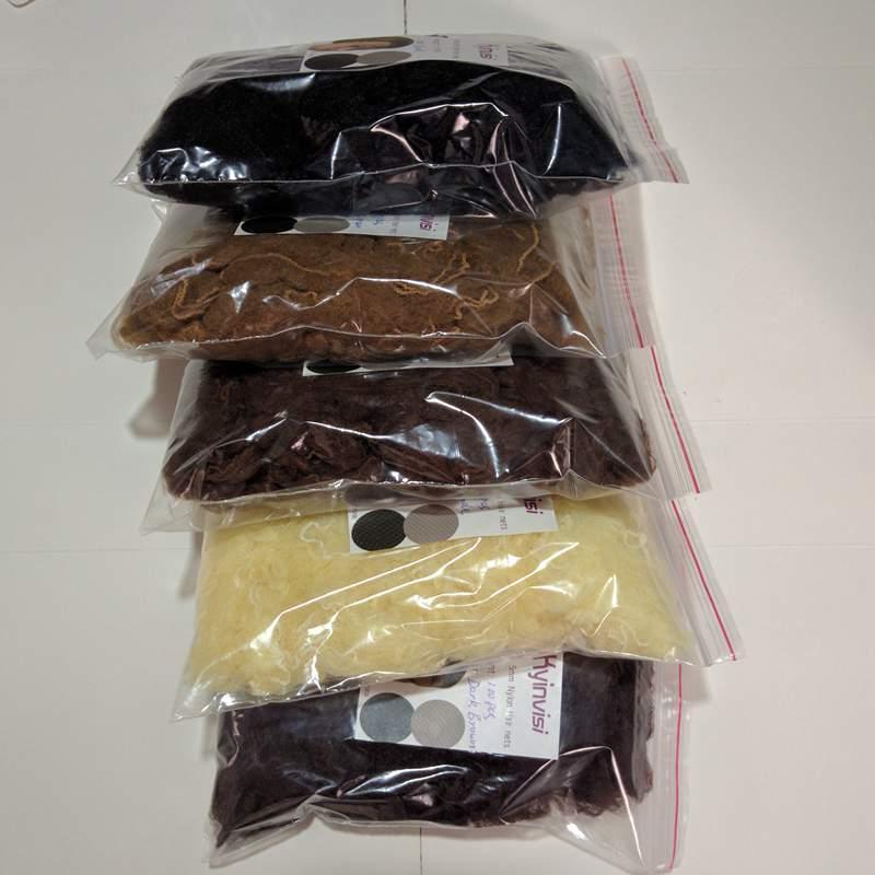 [해외]도매 500pcs 20inch hairnet 5mm 나일론 머리 그물 보이지 않는 처분 할 수있는 머리 그물 5 색깔 혼합 검정, 어두운 갈색, 갈색, 금발/wholesale 500pcs 20inch hairnet 5mm nylon hair nets invisi