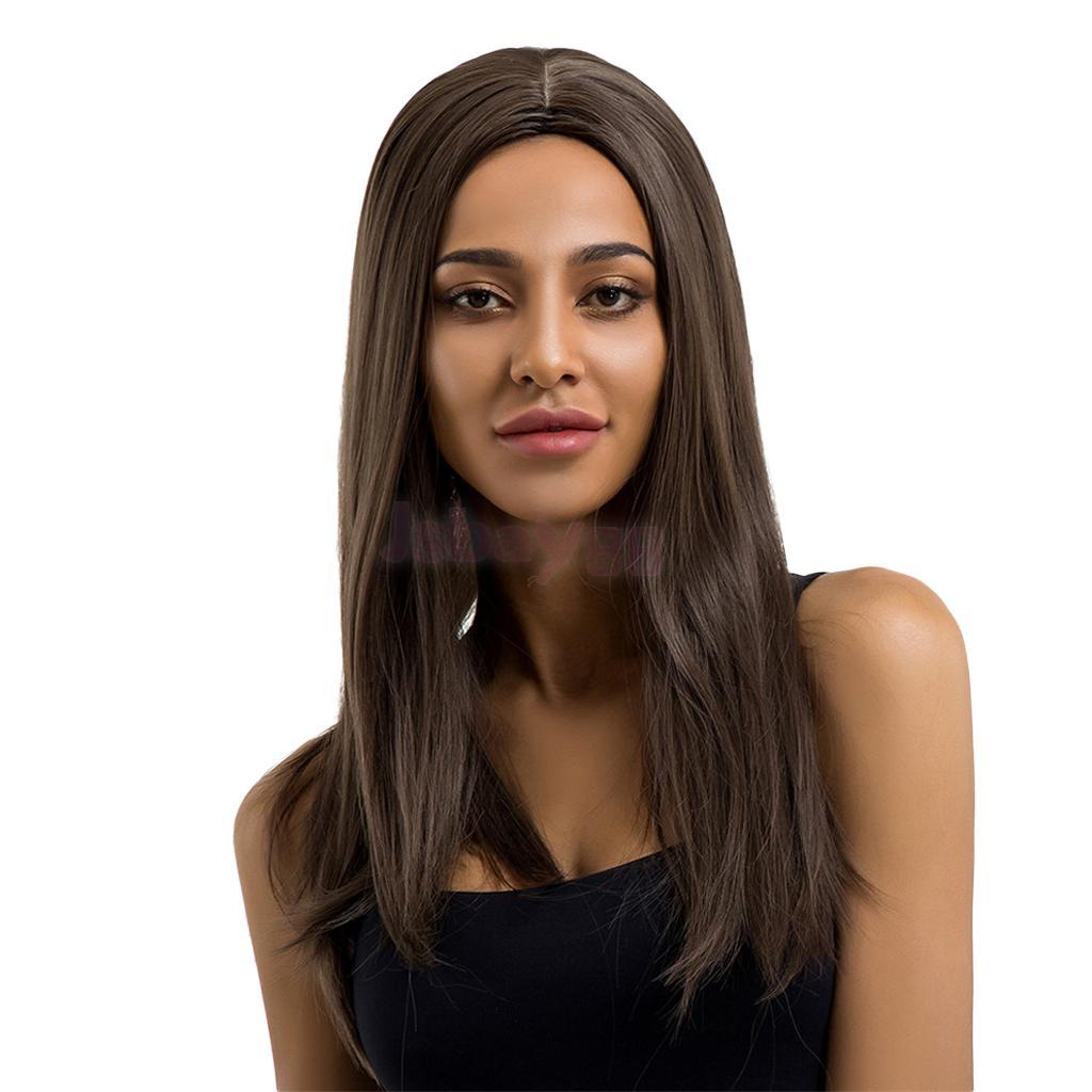 [해외]22 & 매끄러운 롱 스트레이트 가발 중간 부분 내열성가 발 자연 갈색 색상 합성 파티가 발 무료가 발 모자/22& Sleek Long Straight Wig for Women Middle Part Heat Resistant Wigs Natural Bro