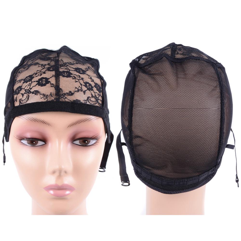 [해외]10 개 가발을 만들기검은 가발 CapVelvet 사이드 조절 스트랩 Glueless 가발 모자 Weaving Cap 꽃 레이스 그물 모자/10 Pcs Black Wig CapVelvet Sides For Making WigsAdjustable Strap Glu