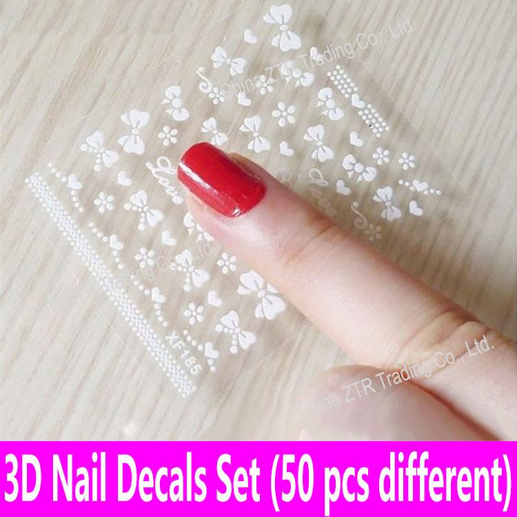 [해외]50PCS 네일 스티커 네일 아트 데칼 접착제 전송 3D 데칼 인쇄 아플리케 투명 네일 장식 50 다른 시트 세트/50PCS Nail Stickers Nail Art Decals Glue Transfer 3D Decals Print Applique Transpa