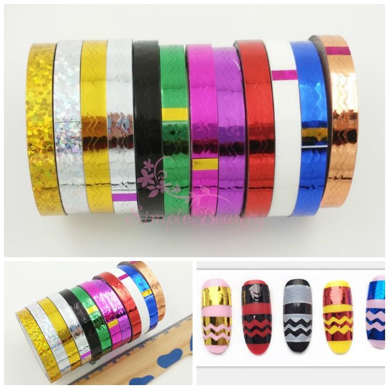 [해외]12 롤스 / 많은 다채로운 금속 호 일 자기 접착제 라인 웨이브 스트 라이프 스타일의 테이프 스티커 네일 아트 매니큐어 데칼 디자인 장식/12 Rolls/lot Colorful Metallic Foil Self Adhesive Line Wave Striping