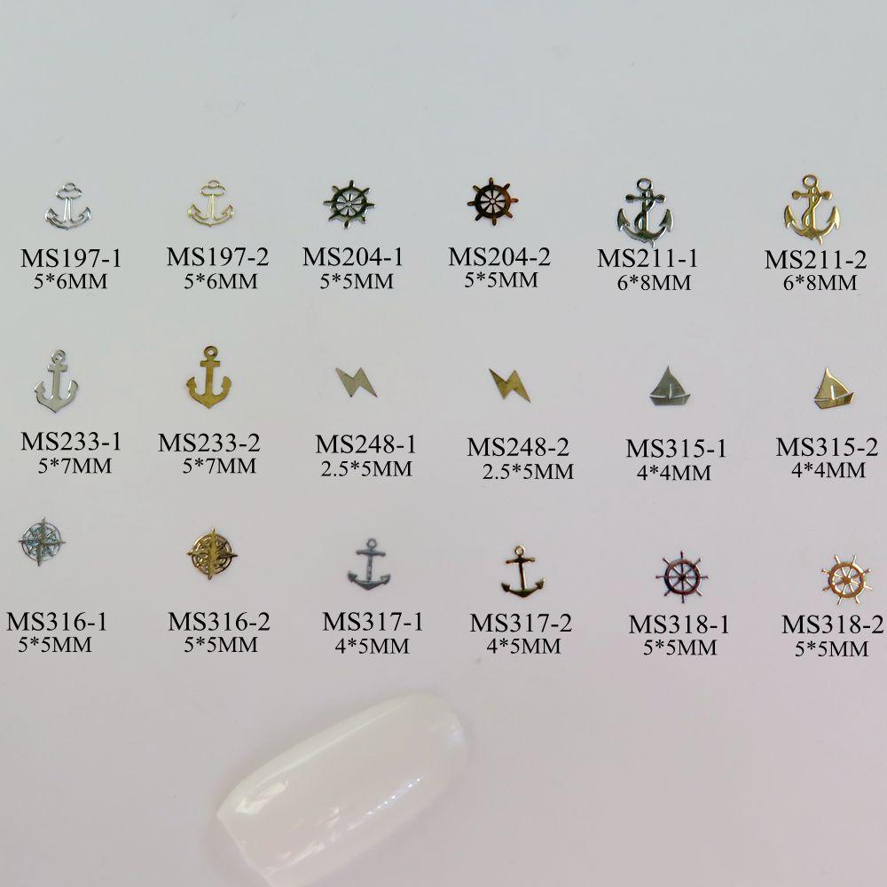 [해외]대략 1000pcs / 가방 실버 / 골드 바다 앵커 헬름 플래시 선박 비 접착 소프트 메탈 스티커 네일 아트 데코/Approx. 1000pcs/bag Silver/Gold Sea Anchor Helm Flash Ship non-adhesive Soft Meta