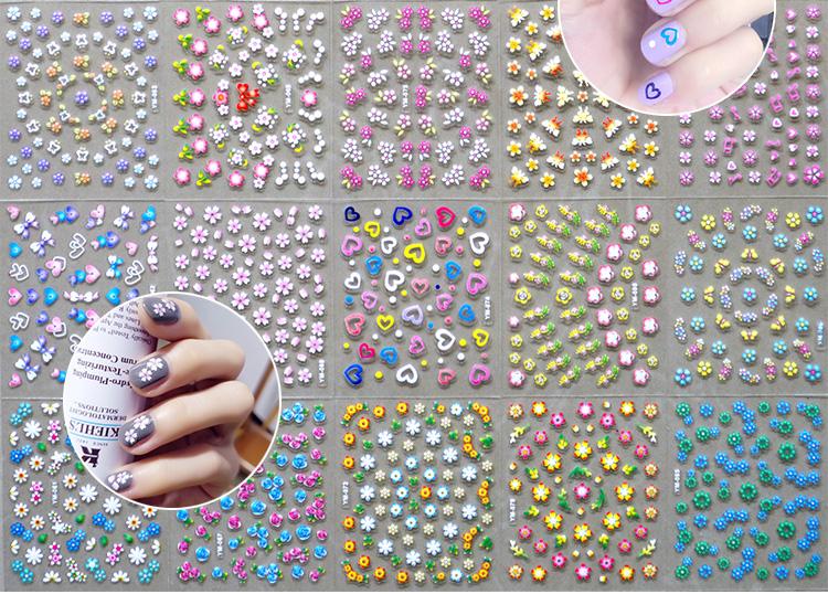 [해외]NTL-C (03) 핫 판매 하나의 네일 스티커 꽃 30pcs 특별 한 디자인 귀여운 활 / 하트 레인 보우 네일 아트 스티커 한국/NTL-C(03) hot-sell 30pcs in one Nail Stickers Flowers Special design cut