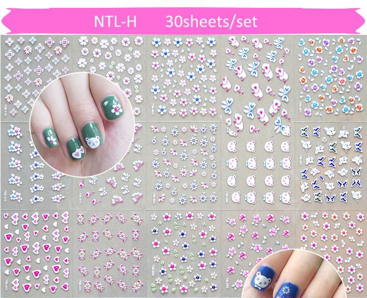 [해외]셀프 접착 네일 아트 스티커 데칼 30 매 / 로트 셀프 접착력 라이트 핑크 리본 리본 레이스 네일 아트 스티커 전사 데칼/Self Adhesive Nail Art Stickers Decals 30Sheets/Lot Self Adhesive Light Pink