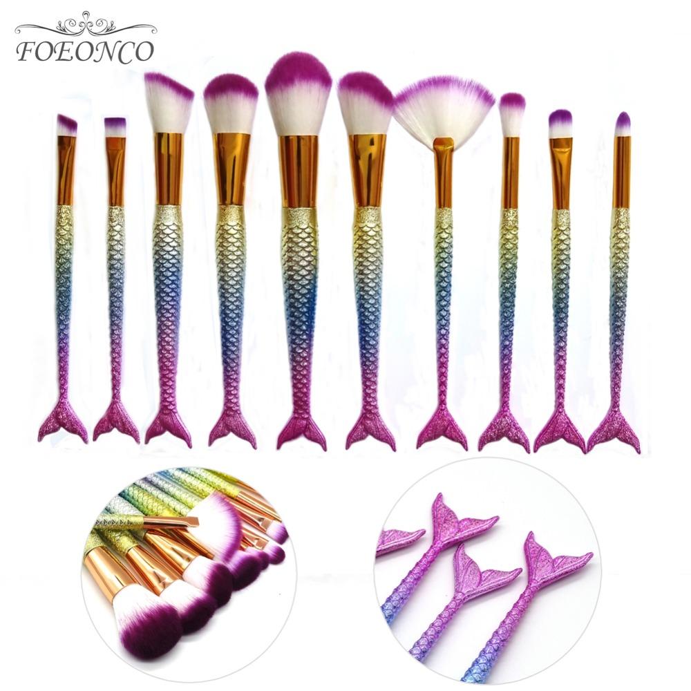 [해외]10PCS 인어 모양 메이크업 브러쉬 물고기 규모 재단 파우더 아이섀도 유니콘 메이크업 브러쉬 컨투어 혼합 화장품 브러쉬/10PCS Mermaid Shape Makeup Brush Fish Scale Foundation Powder Eyeshadow Unicor