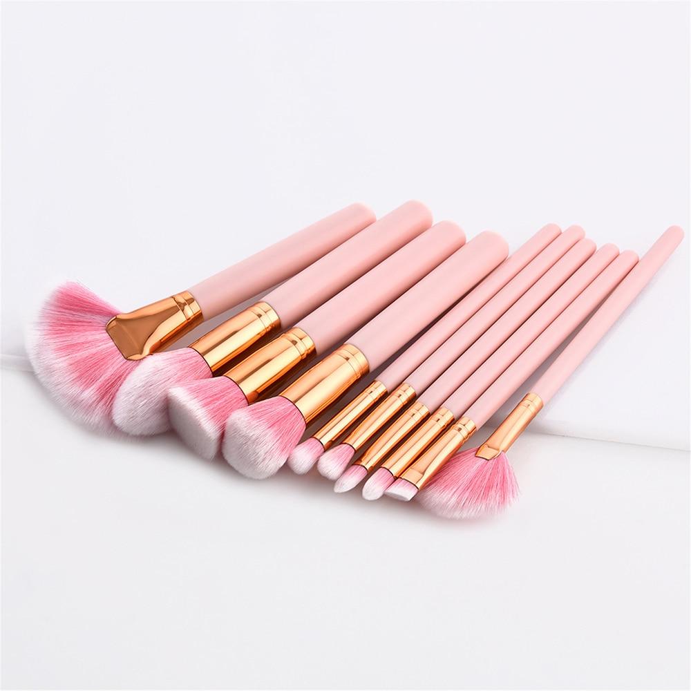 [해외]전문 10pcs 핑크 브랜드 메이크업 브러쉬 세트 미용 재단 가부키 브러쉬 화장품 메이크업 브러쉬 도구 키트/Professional 10pcs Pink Brand Makeup Brushes Set Beauty Foundation Kabuki Brush Cosme