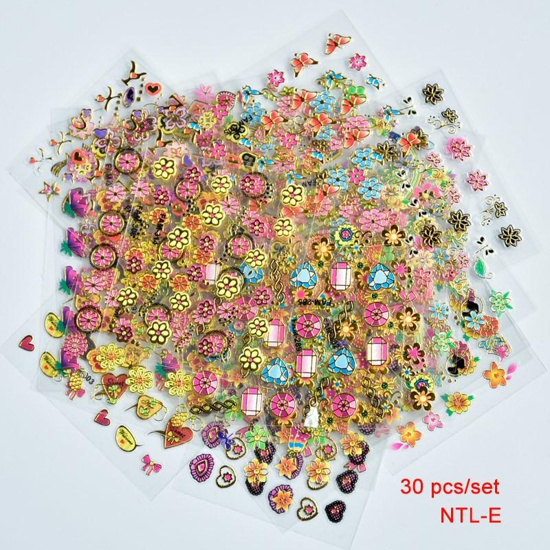 [해외]NEW 30 Sheets 3D Pink & Gold Flower Self-adhesive Nail Water Sticker Decal Flower Design  Decoration Tools For 3D Nail Art Decal/NEW 30 Sheets
