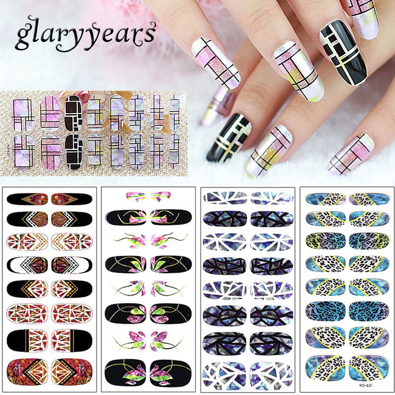 [해외]glaryyears 5 Pieces/lot Laser Glitter Nail Full Cover YO Sticker Wraps Transparent Half Vintage Pattern Nail Art Decal Glass New/glaryyears 5 Piec
