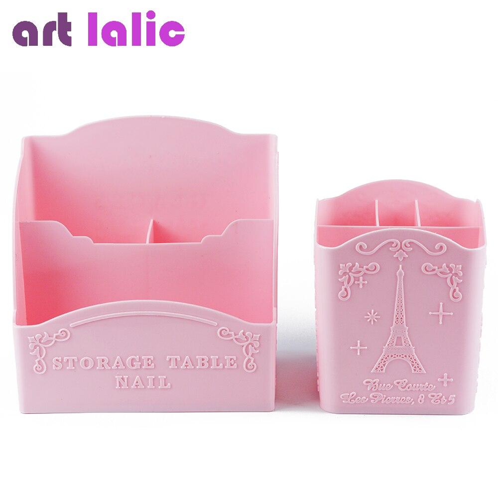 [해외]/Artlalic 1pc Three/ Four Rooms Nail Art Tools Storage Box Container Case Organizer Makeup Brushes Pen Cabinet Pink Eiffel Tower