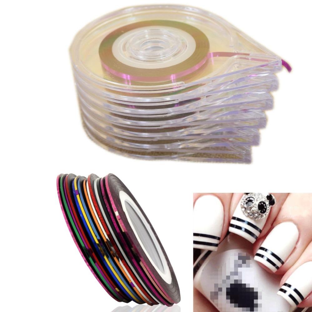 [해외]/10Mixed Colors Nail Rolls Striping Tape Line DIY Nails Tips Decoration Sticker Nails Care+6 Layer Nail Art Case Tool Box Holder
