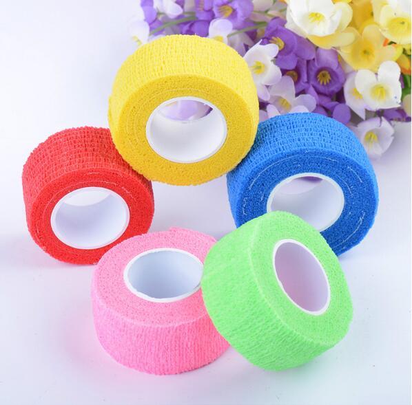 [해외]Easynail 5 rolls 밝은 color2.5cmx4.5m cobannonwoven 탄성 자체 접착 접착 접착 성 랩 핑거 붕대 부드러운 테이프