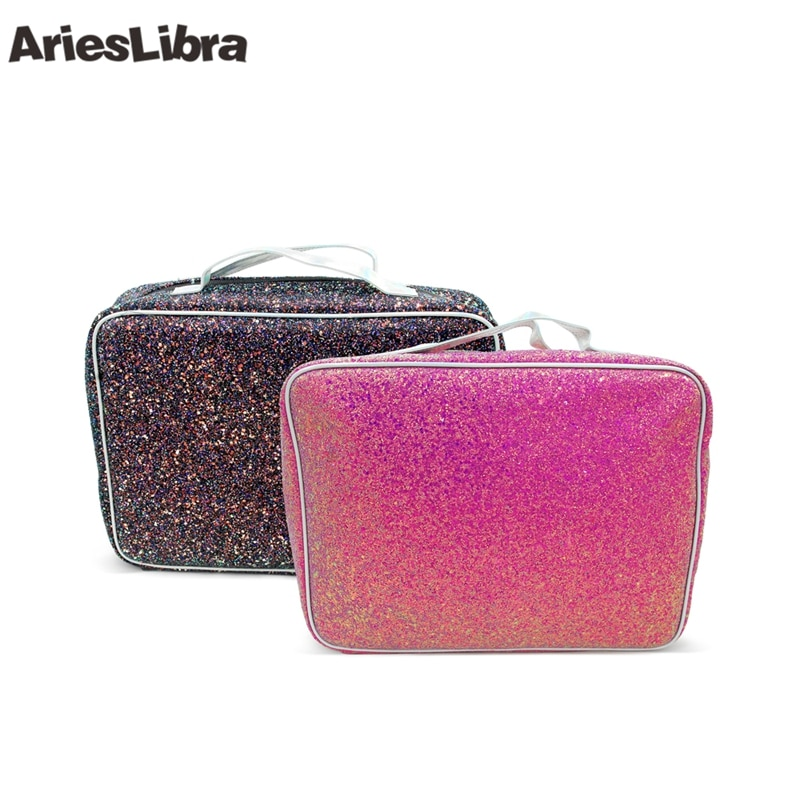 [해외]AriesLibra Shiny Glitter Cosmetic Bag Case Nail Art Manicure Tool Women Makeup Storage Organizer for UV Gel Polish/AriesLibra Shiny Glitter Cosmet