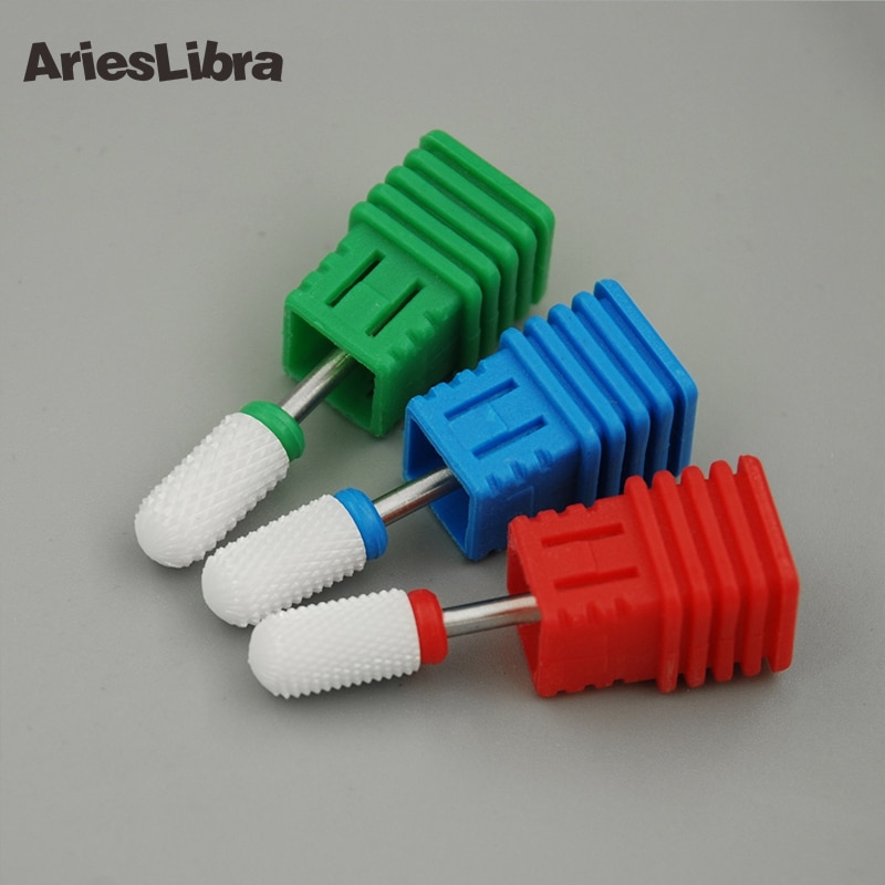 [해외]/AriesLibra 10PCS Cylinder Nail Drill Bit Round Head Electric Nail File Ceramic Cutter for Electric Drill Machine Accessory Tool