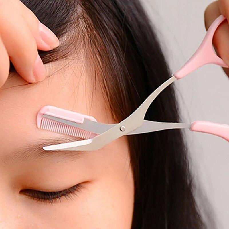 [해외]/Shopify 1Pc Eyebrow Grooming Cosmetic Tool Eyelash Hair Scissors Pink Eyebrow Trimmer Eyelash Hair Clips Scissors 6Colors
