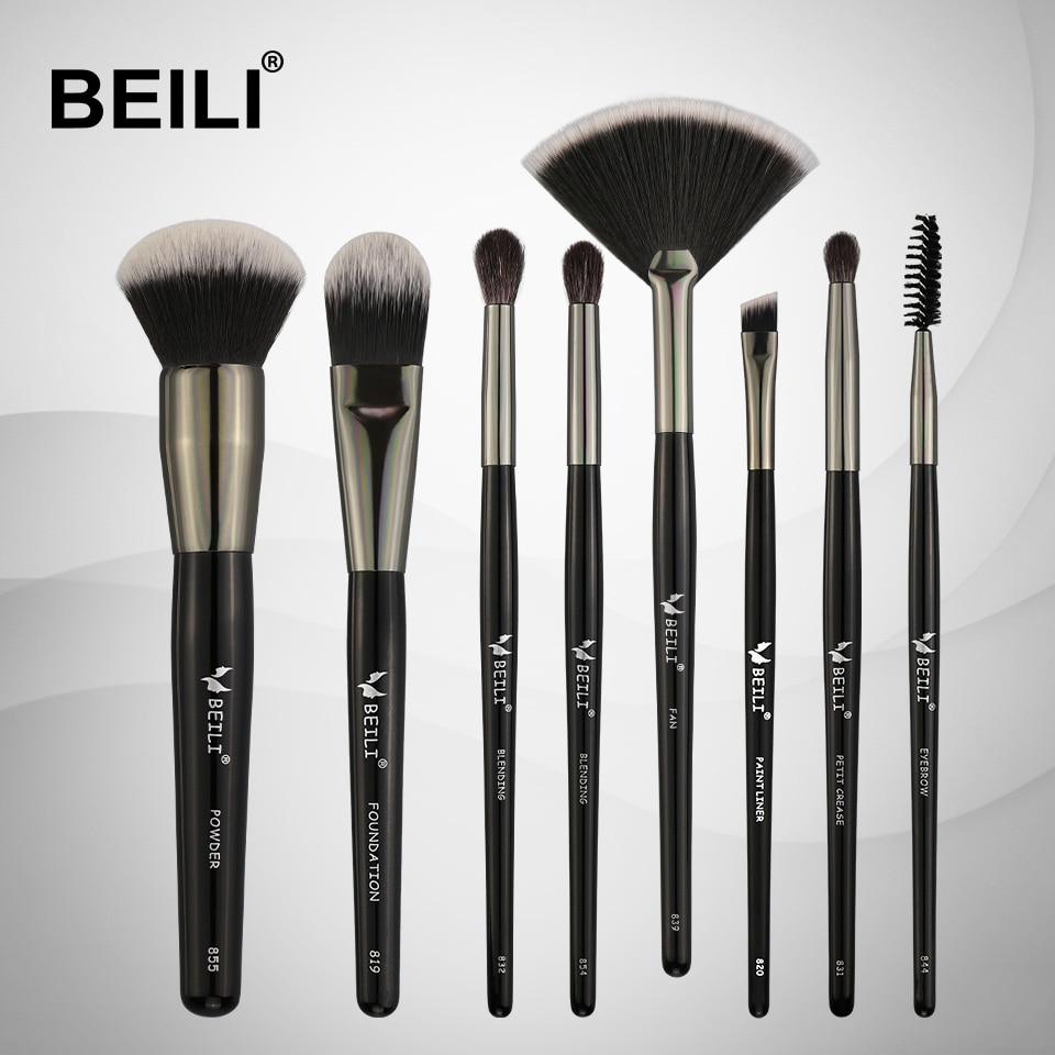 [해외]/BEILI Professional 8pcs Makeup brushes Set Goat Hair Blending Soft Synthetic Hair for Powder Foundation Highlight Eyebrow