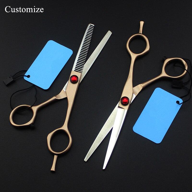 [해외]사용자 정의 로고 일본 440c 6 '골드 헤어 살롱 가위 머리 이발사 마카 헤어 이위 가위 미용 가위 얇은 가위/Customize logo japan 440c 6 `` gold hair salon scissors hair cutting barber ma