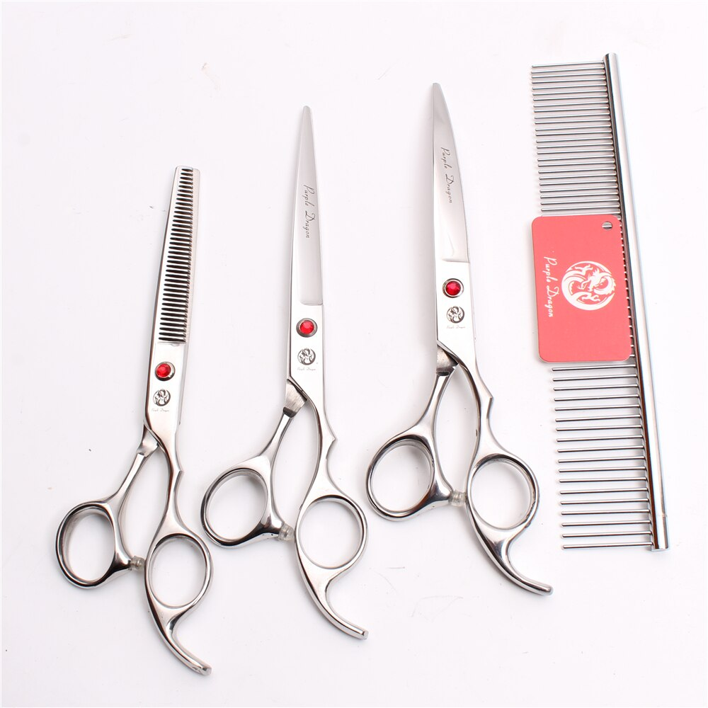 [해외]Z3003 4Pcs 7`` Silver Steel Comb + Cutting Shears + Thinning Scissors + Down Curving Shears Professional Pets Hair Scissors Suit/Z3003 4Pcs 7`` Si