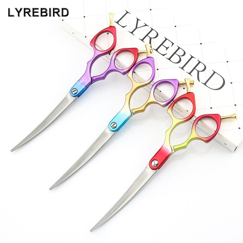 [해외]Professional Dog Grooming Scissors Curved  Light Dog Pet Hair Scissors 6 Inch 6.5 Inch Cat Curved Scissors Super JP440C Lyrebird/Profess