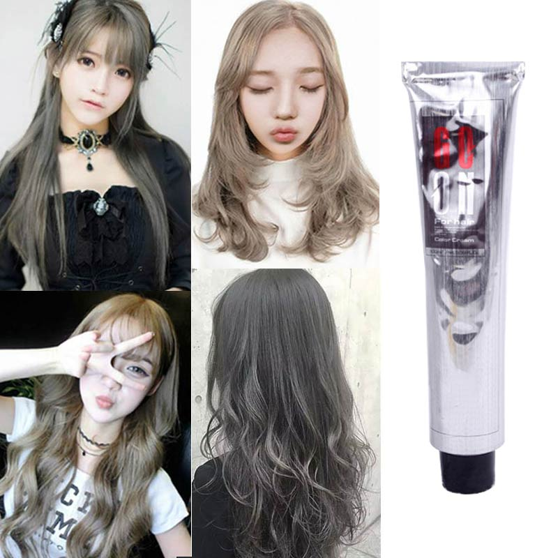 [해외]/100ml Fashion Hair Cream Natural Permanent Professional DIY Dye Hairs Smoky Grey Coloring Light Gray Flaxen Style well S