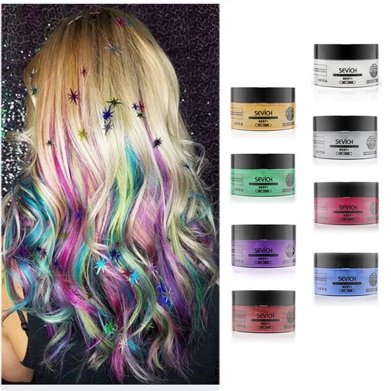 [해외]/8 Colors Disposable Dyed Hair Wax Dye One-time Molding Paste Fashion Party Hairstyle Cream Hot