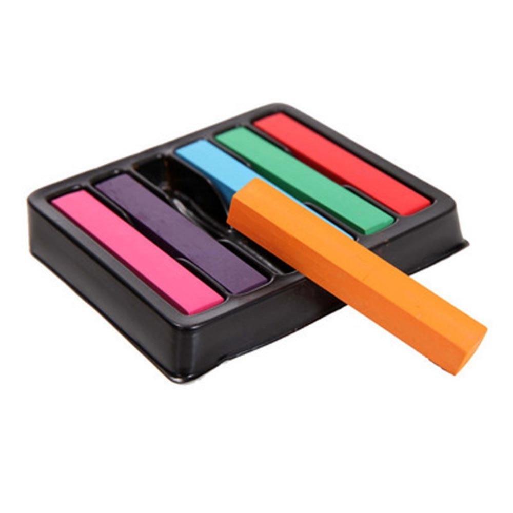 [해외]/1 set Non-toxic Temporary Salon 6 Colors Pastel Stick Vermicelli Hair Color Powder Brush Hair Chalk New Arrival