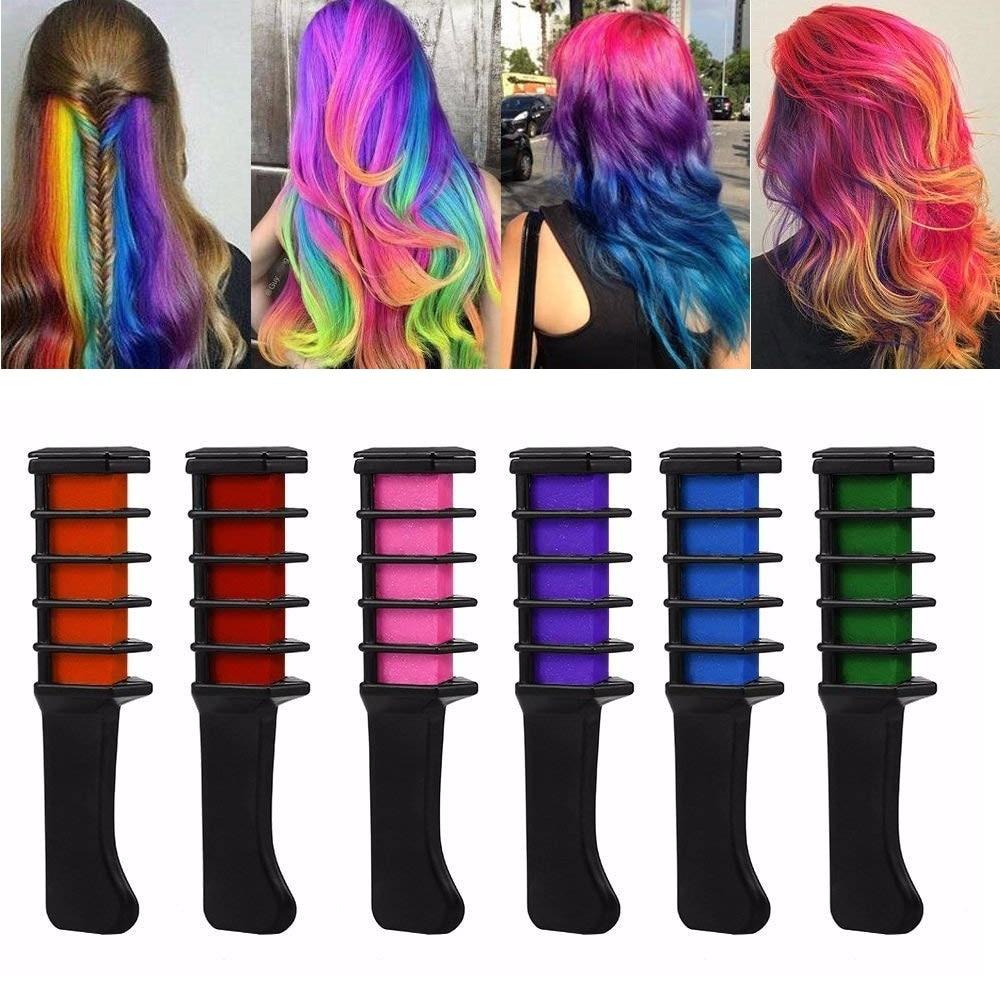 [해외]/6 Colors Multicolor Dye Salon Temporary Hair Dye Comb Fashion Design Hair Mascara  Use Temporary Hair Dyeing Tool TSLM2