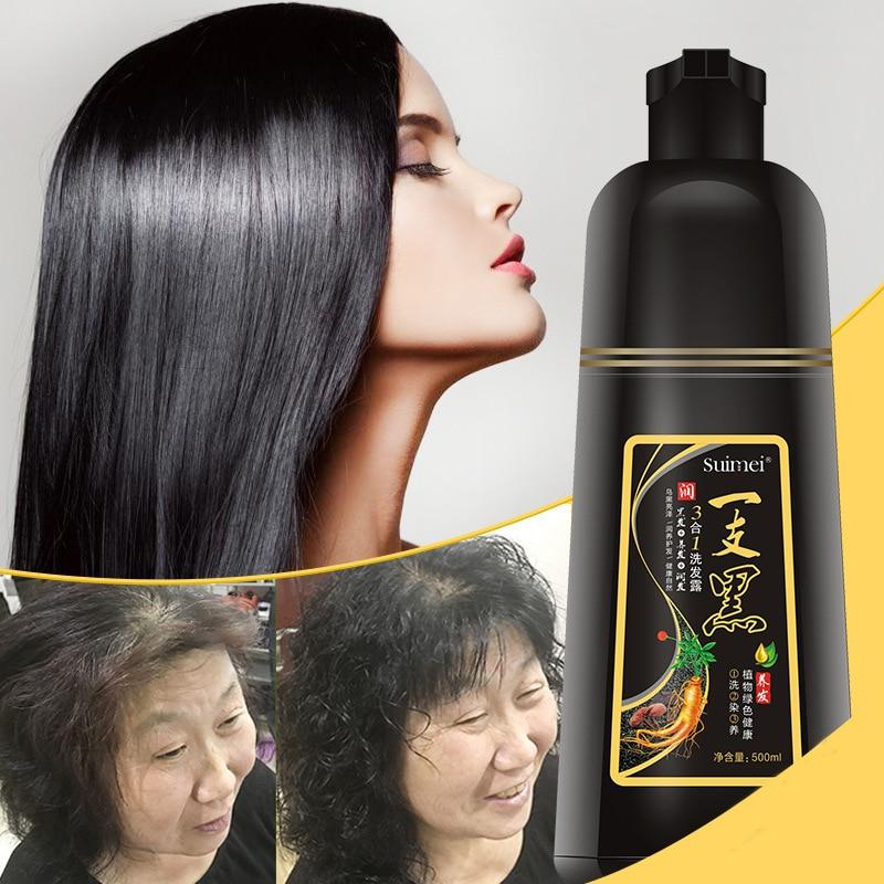 [해외]/SUIMEI Brand 500ML Extract Organic Ginseng Permanent Black Hair Shampoo No Side Effect Fast Black Hair Dye Anti White Hair
