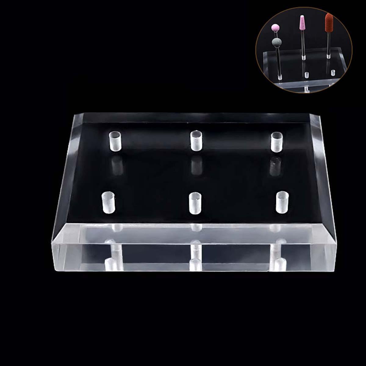 [해외]투명한 컬러 네일 드릴 비트 홀더 전시 스탠드 6 홀 디자인 네일 아트 살롱을네일 그라인딩 스톤 헤드 디스플레이베이스/Transparent Color Nail Drill Bits Holder Exhibition Stand 6 Hole Design Nail Gri