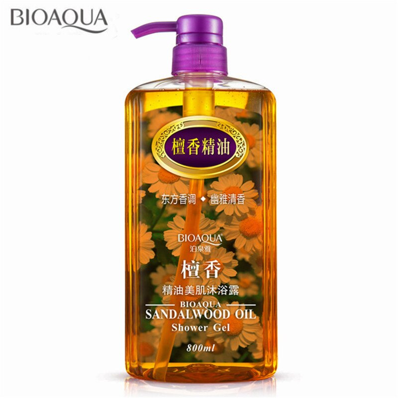 [해외]/BIOAQUA 800ml Sandalwood Essential Oil Shower Gel Deep Clean Whitening Exfoliating Moisturizing Lasting Fragrant Gels