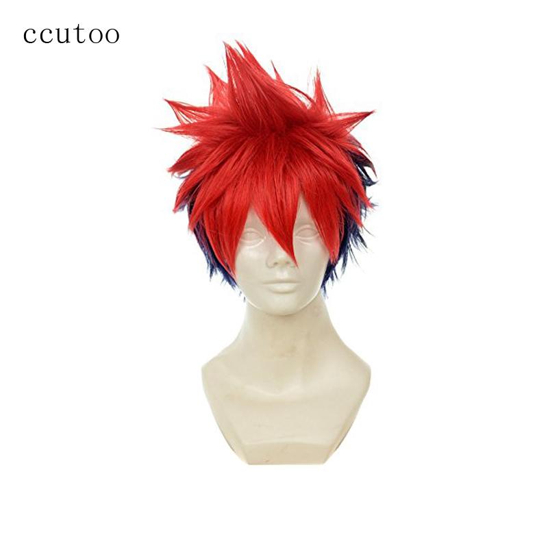 [해외]ccutoo 12 & Men 's 짧은 얽히고 설킨 Layered 레드 블루 믹스 합성 헤어 파티 코스프레 의상 가발 내열성/ccutoo 12& Men&s Short Shaggy Layered Red Blue Mix Synthetic Hair Pa
