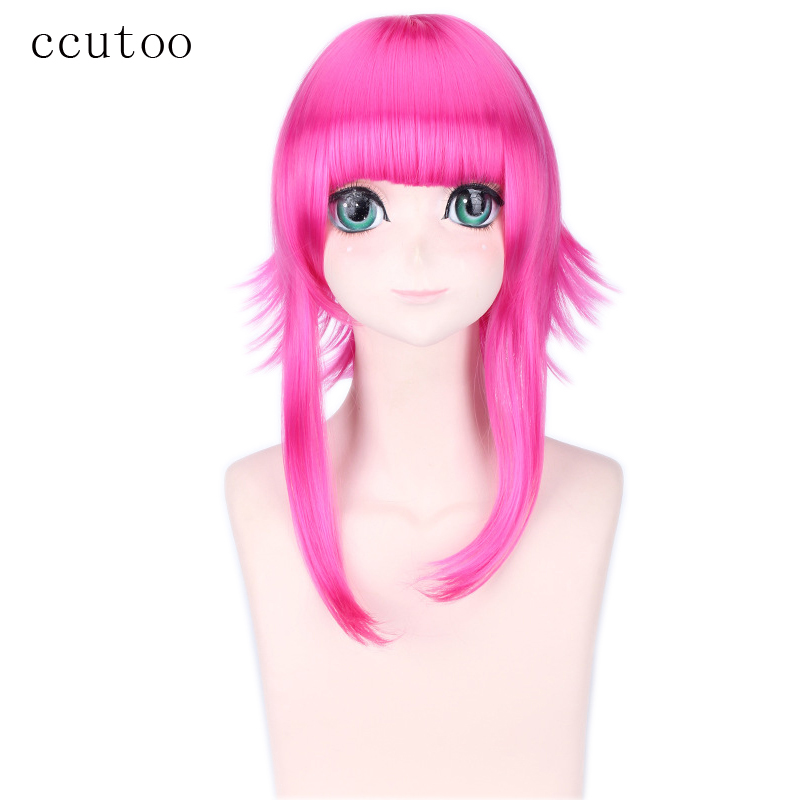 [해외]ccutoo 40cm 중간 플랫 Bangs 푹신한 계층화 된 붉은 장미 코스프레 의상 가발 Peluca Heat Resistance Fiber/ccutoo 40cm Medium Flat Bangs Fluffy Layered Rose Red Cosplay Cost