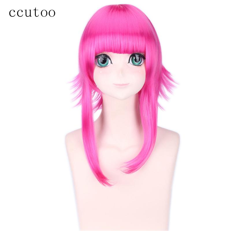 [해외]ccutoo 40cm 중간 플랫 Bangs 푹신한 계층화 된 붉은 장미 코스프레 의상 가발 Peluca Heat Resistance Fiber/ccutoo 40cm Medium Flat Bangs Fluffy Layered Rose Red Cosplay Cost