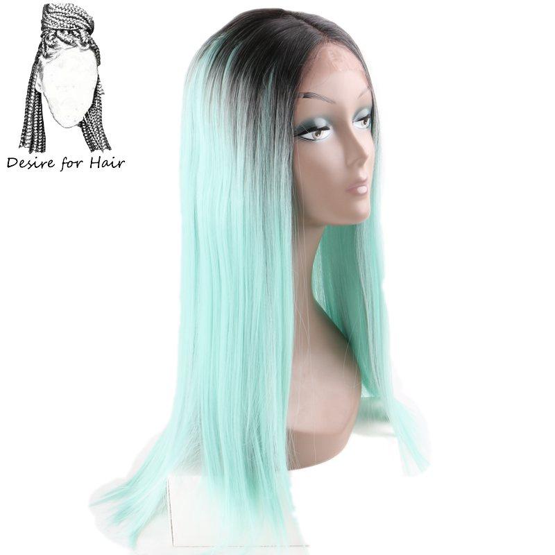 [해외]머리카락을22inch 55cm 길이의 내열 레이스 전면 합성 가발 for black women ombre 검은 색 아쿠아 그린 컬러/Desire for hair 22inch 55cm long heat resistant lace front synthetic wig