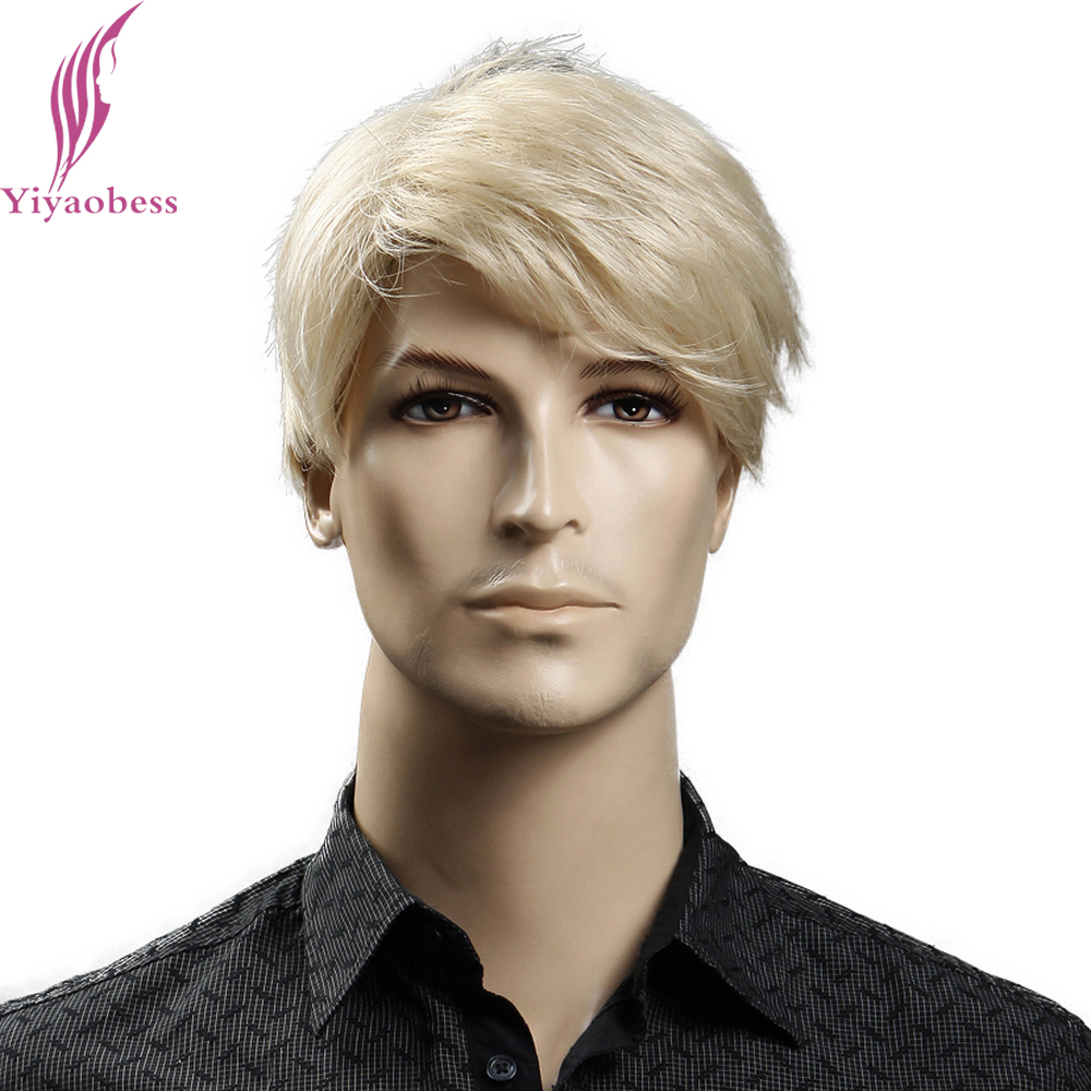 [해외]Yiyaobess 6inch 방염 합성 짧은 금발 가발 자연 헤어 남자 스트레이트 hairStyles/Yiyaobess 6inch Heat Resistant Synthetic Short Blonde Wig Natural Hair Men Straight hairS