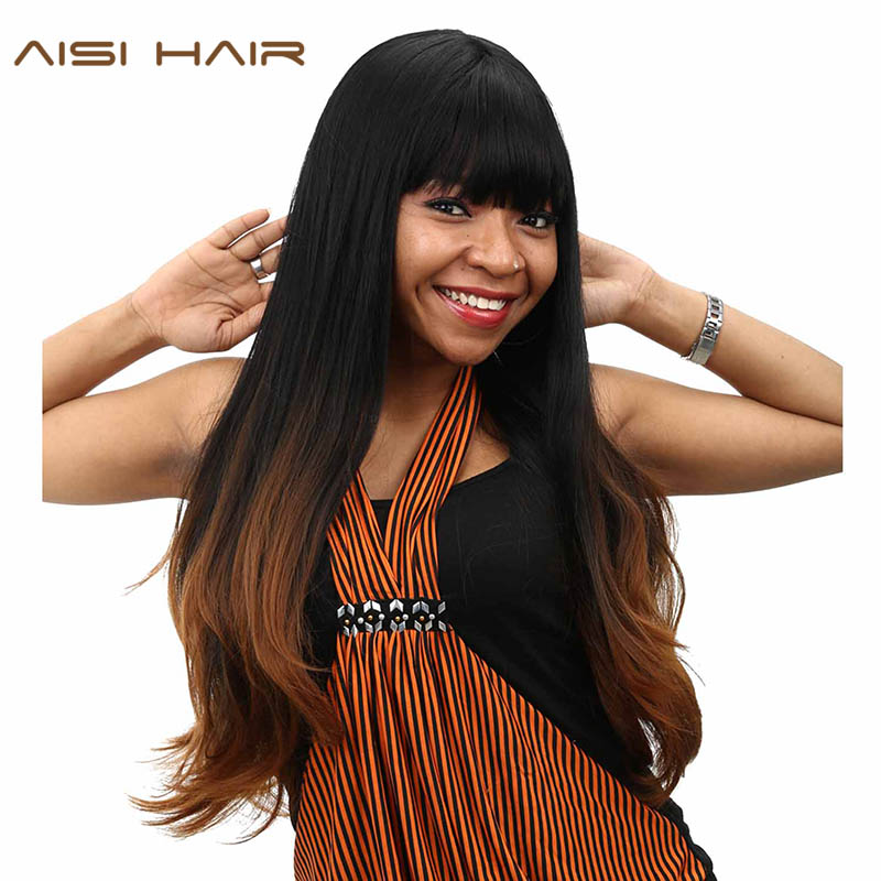 [해외]AISI HAIR 합성 옴브 가발 for Black Women 롱 웨이브 코스프레 Dark Brown HairNeat Bangs 헤어 스타일/AISI HAIR synthetic Ombre Wigs For Black Women Long Wavy Cosplay Da