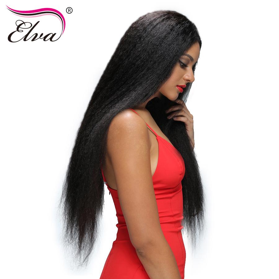 [해외]엘바 헤어 변태 스트레이트 레이스 앞면 인간의 머리카락 가발 흑인 여성 브라질 레미 헤어 가발 미리 뽑아 10 & -24 & 자연 색상/Elva Hair Kinky Straight Lace Front Human Hair Wigs For Black