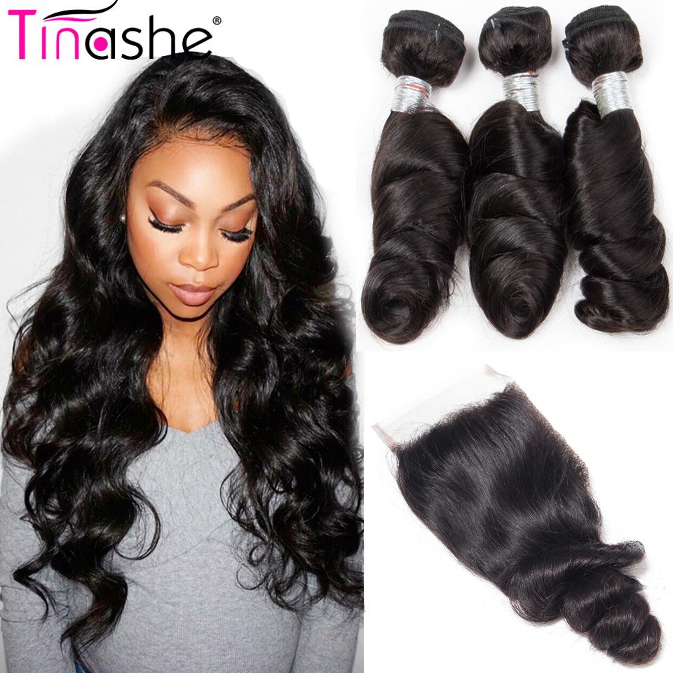 [해외]Tinashe Hair 브라질 루스 웨이브 번들 클로저 100 % Remy 헤어 익스텐션 클로저 Human Hair 3 BundlesClosure/Tinashe Hair Brazilian Loose Wave BundlesClosure 100% Remy Hair
