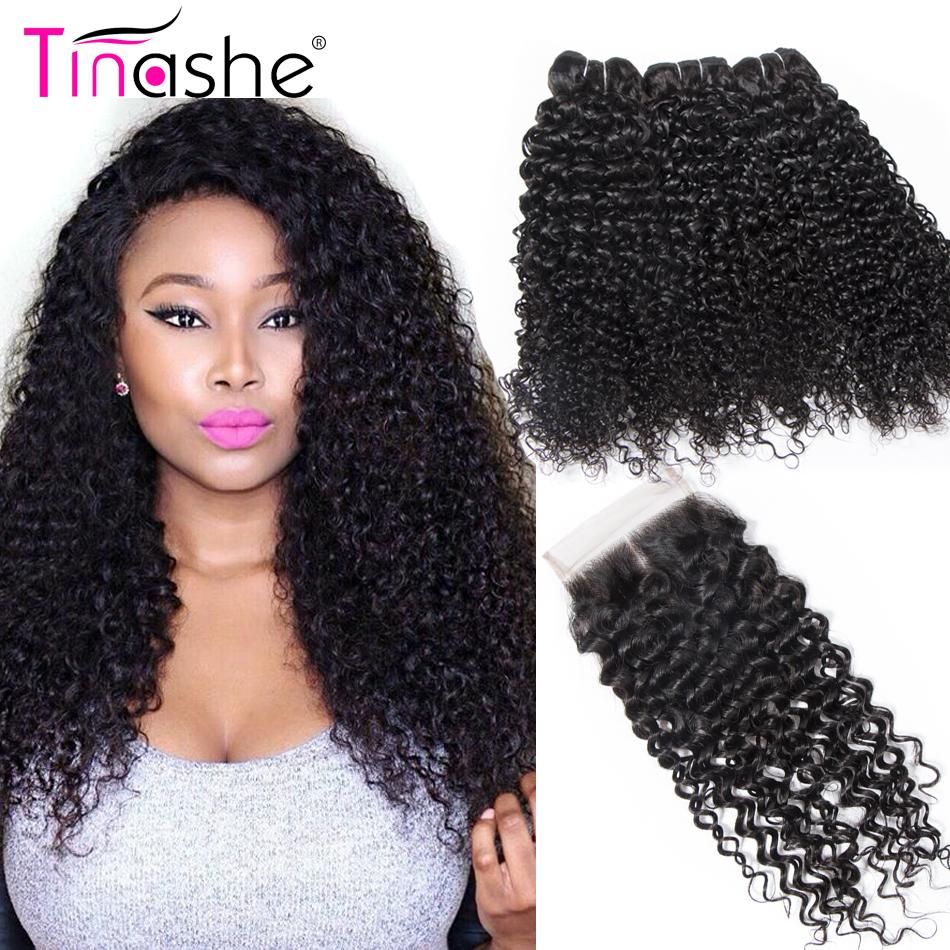 [해외]Tinashe 머리 곱슬 인간의 머리 번들 폐쇄 Remy 인간의 머리 확장 3 번들 브라질 헤어 위브 번들 폐쇄/Tinashe Hair Curly Human Hair BundlesClosure Remy Human Hair Extension 3 Bundles Br