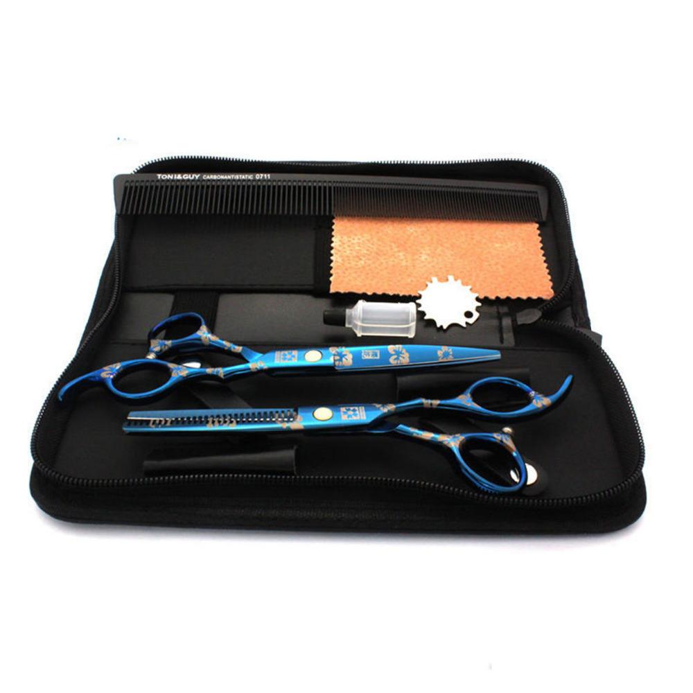 [해외]6pcs / 7 인치 전문 이발사 애완용 개가 위 애완 동물 헤어 컷 도구 가위 스테인레스 스틸 살롱 미용 액세서리 세트/6pcs/set 7 inch Professional barber Pet Dog Scissors Pet Hair cut Tools scisso