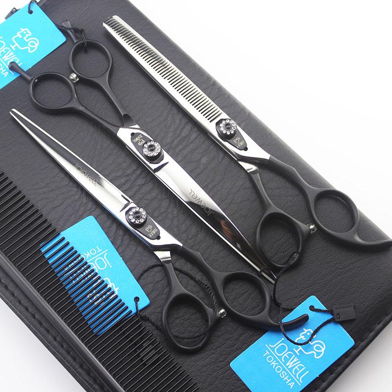 [해외]7inch 애완 동물 손질 가위 세트 Jowel 블랙 손잡이 전문 가위 헤어 커팅 + 곡선 + 가위 ScissorComb Bag/7inch Pet Grooming Scissors Set Jowel Black Handle Professional Dog Shears
