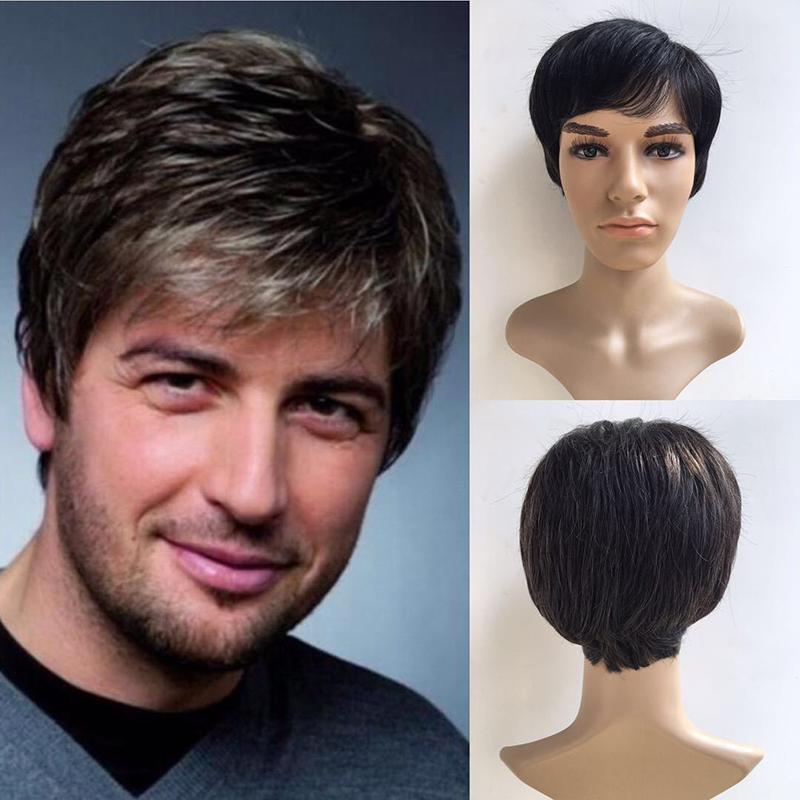[해외]잘 생긴 남자 짧은 검정 회색 믹스 스트레이트 헤어 코스프레 합성 파티 전체 가발/Handsome Men Short Black Gray Mix Straight Hair Cosplay Synthetic Party Full Wig