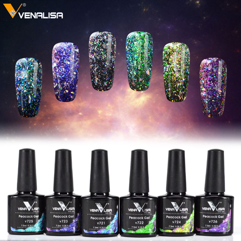 [해외]86132 Venalisa Peacock 네일 젤 폴란드어 New Arrival Glitter 블링 젤 네일 폴리시 7.5ml UV LED 끄기 Starry Gel Polish/86132 Venalisa Peacock Nail Gel Polish New Arri