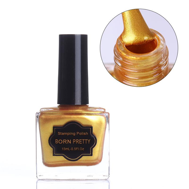 [해외]15ml 골드 네일 스탬핑 폴란드어 새로 골든 컬러 매니큐어 스탬프 Vanish Born Pretty/15ml Gold Nail Stamping Polish Newly Golden Color Nail Polish Stamp Vanish Born Pretty