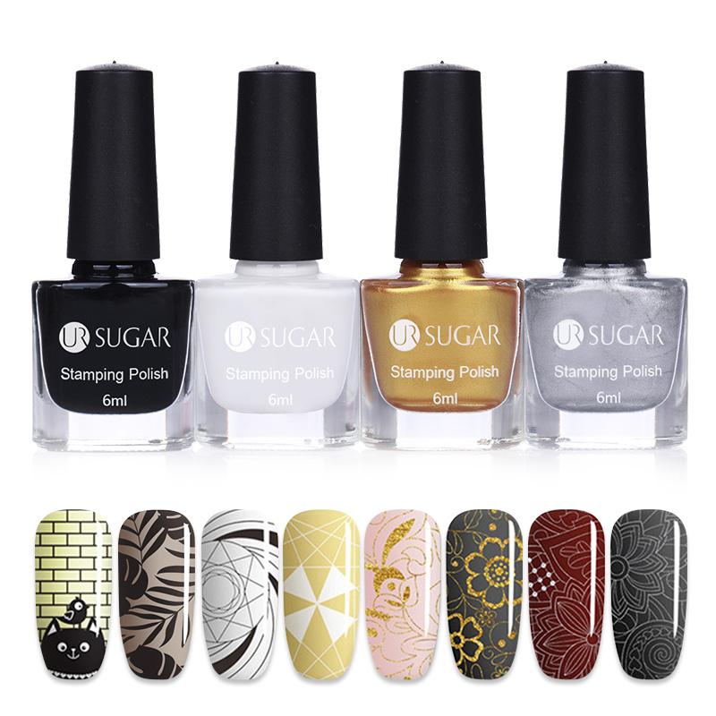 [해외]UR SUGAR 새 4pcs / set 네일 아트 스탬프 폴란드어 다채로운 인쇄 폴란드어 매니큐어 인쇄 옻칠 아름다움 네일 아트 장식 도구/UR SUGAR New 4Pcs/set Nail Art Stamping Polish Colorful Printing Pol