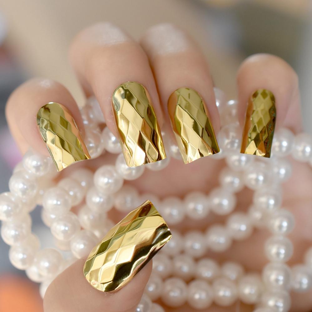 [해외]3D 금속 거울 틀린 손톱 금 가짜 네일 긴 마름모 아크릴 네일 팁 DIY 네일 살롱 제품 24pcs/3D Metal Mirror False Nails Gold Fake Nail Long Size Rhombus Acrylic Nail Tips DIY Nail S