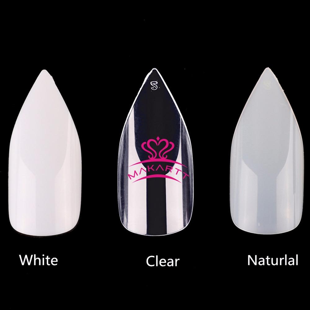 [해외]100Bags 500pcs 지우기 네일 팁 스틸 레토 손톱 아몬드 네일 전체 커버 인공 손톱 10 사이즈 DIY 및 살롱 A0515 용/100Bags 500pcs Clear Natural Nail Tips Stiletto Nails Almond Nails Ful