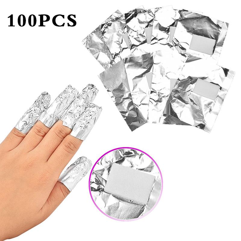 [해외]ELECOOL 100PCS / 세트 알루미늄 호일 네일 아트는 아크릴 젤 제거 폴란드어 네일 리무버 랩 제거 네일 아트 도구 매니큐어 도구/ELECOOL 100Pcs/set Aluminium Foil Nail Art Soak Off Acrylic Gel Poli